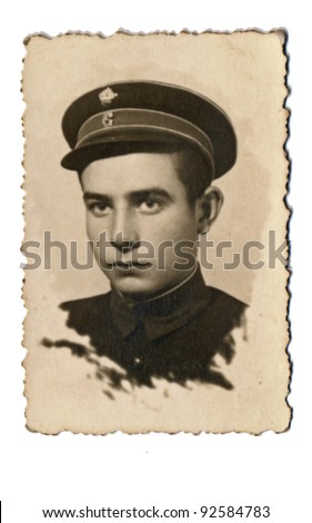 young soldier´s face - vintage photo scan - about 1945