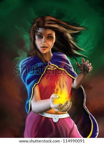 Young sorceress casting a spell surrounded by a magical aura. Digital illustration. - stock photo