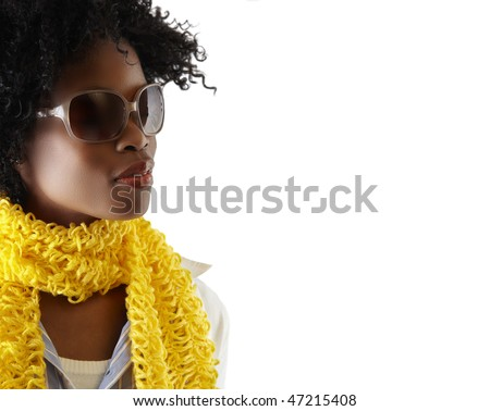young South African woman with fashion sunglasses and yellow scarf - stock photo