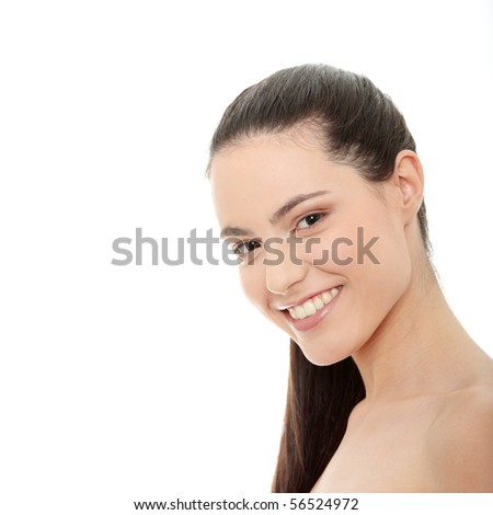 Young spa woman isolated on white background - stock photo