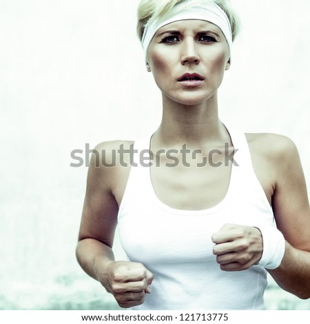 young sports girl runs - stock photo
