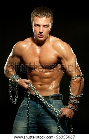 Young sports guy with a naked torso - stock photo