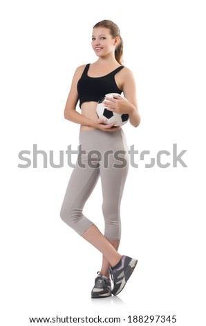 Young sportswoman with ball isolated on white - stock photo