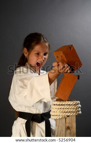Young sporty karate girl breaking a brick on gray background - stock photo