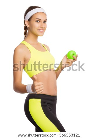 Young sporty woman isolated on white - stock photo