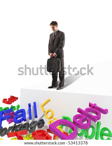 young standing businessman look 3d text business risk