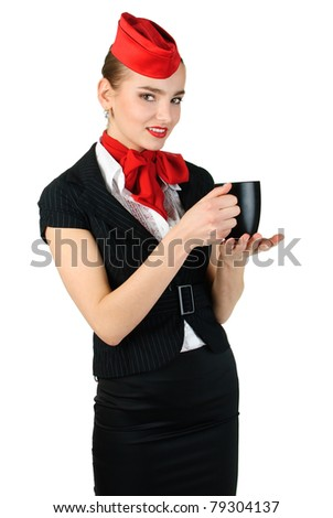 young stewardess with cup