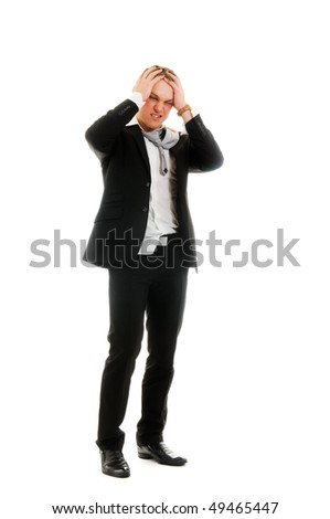 Young stressed businessman. Isolated over white. - stock photo
