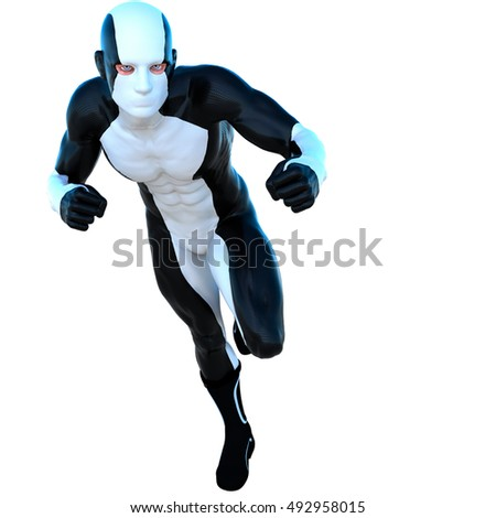 young strong man in a white and black super suit. Runs on the camera left side. 3D rendering, 3D illustration