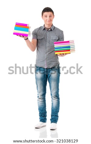 Young student carrying books, isolated on white background  - stock photo