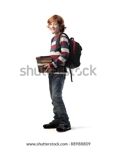 Young student carrying some books - stock photo