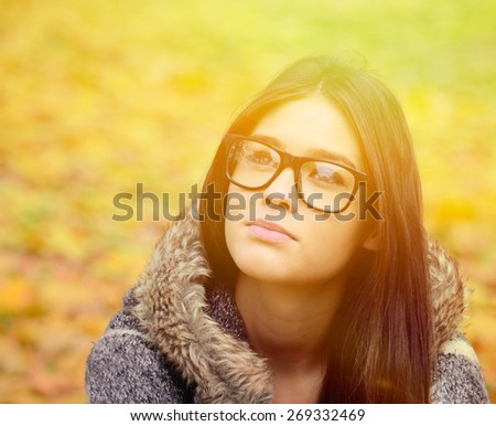 Young student girl in glasses portrait - stock photo