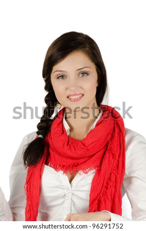 Young student girl smiling and looking at the camera - stock photo