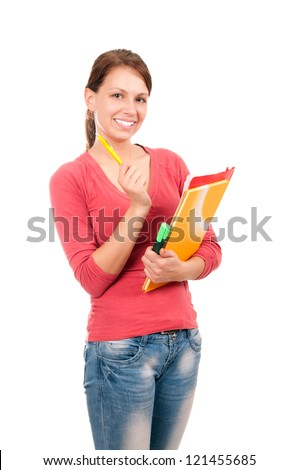 Young student girl with notebooks and pen isolated on white background