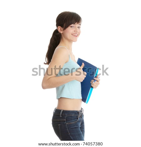 Young student girl with thumb up isolated on white background - stock photo