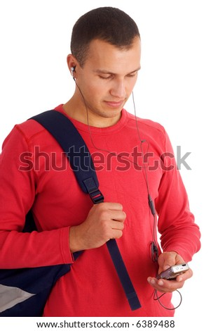 young student going to college isolated