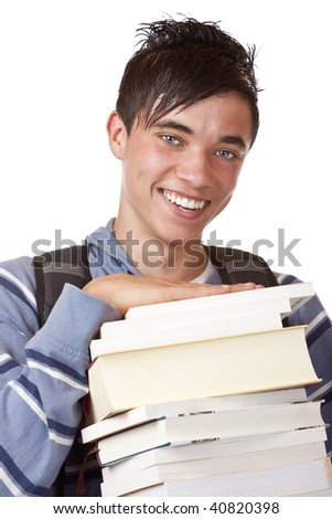 Young student holding books and smiles happy into camera. Isolated on white. - stock photo