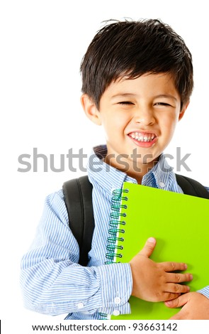 Young student holding notebook - isolated over a white background - stock photo