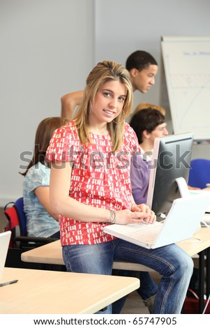 Young student in computer classes
