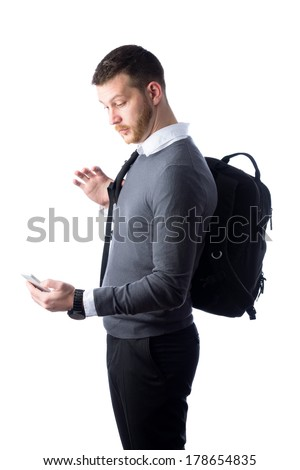 young student looking surprised at smart phone isolated on a white background