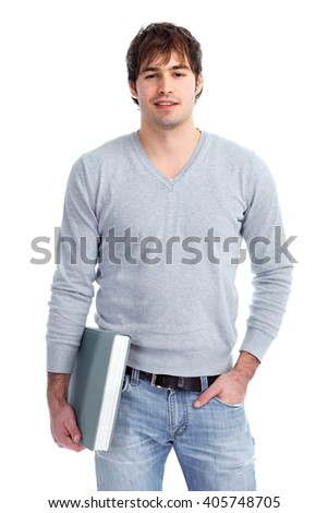 Young student man with a book. - stock photo