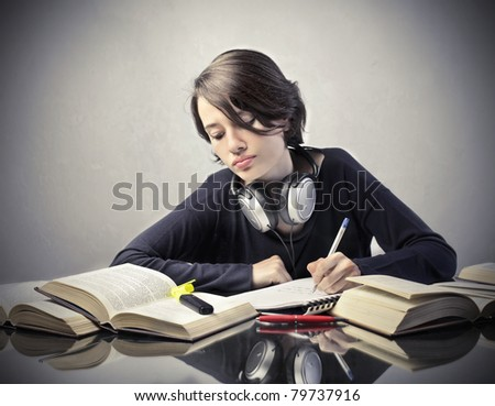 Young student preparing for an exam - stock photo