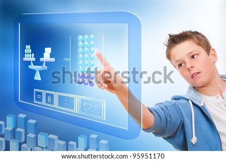 Young student touching virtual digital futuristic screen. - stock photo