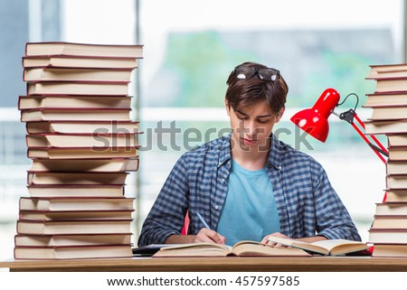 Young student under stress before exams - stock photo