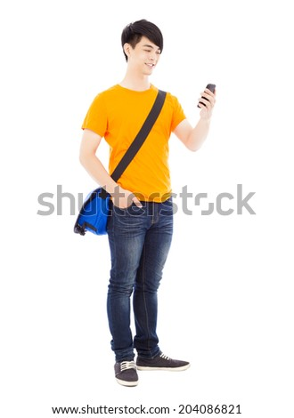 young student watching a smart phone with white background - stock photo