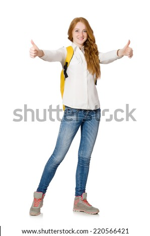 Young student with backpack isolated on white
