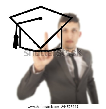 Young student with black hat isolated on white background - stock photo