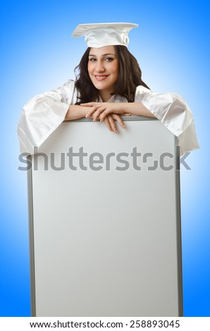Young student with blank board - stock photo