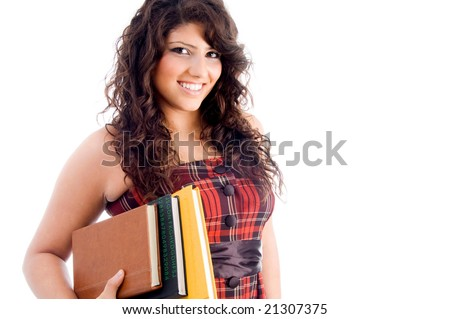 young student with books against white background - stock photo
