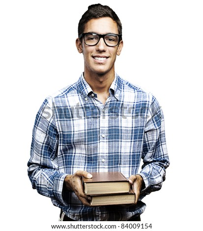 young student with glasses and shirt holding books over white background - stock photo