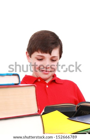 Young student with lots of books, isolated on white