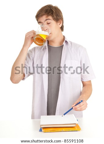 young student with mug of beer, white background, series - stock photo