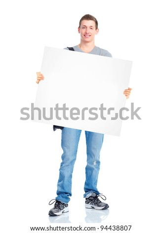 Young student with placard. Isolated over white background.