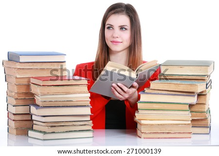 Young student woman with lots of books - stock photo