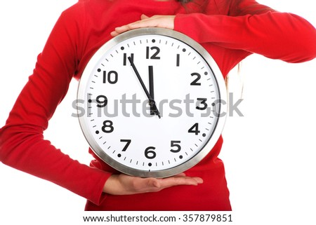 Young student woman with the clock. - stock photo