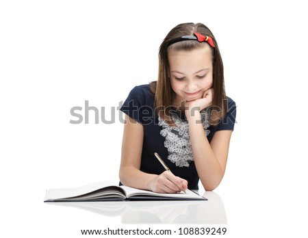 Young student writes a letter, isolated, white background - stock photo