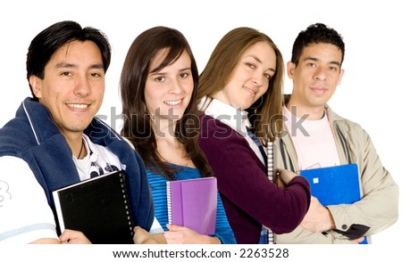 young students at university over a white background - stock photo