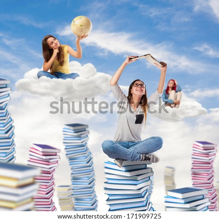 young students dreaming and thinking at the sky - stock photo