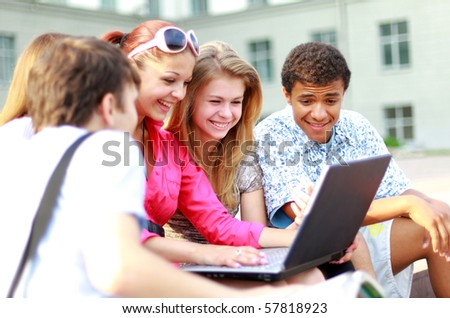 young students lined up for a portrait - stock photo