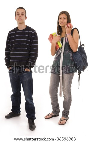 Young students ready to go to school - stock photo