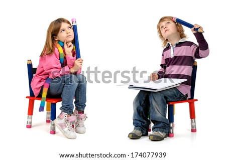 Young students  thinking in a chair isolated in white