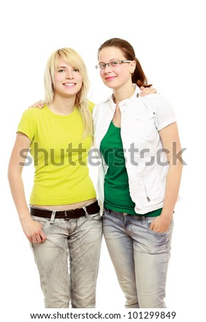 Young students women isolated on white background.