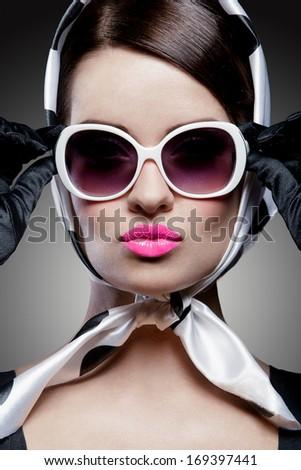 young stylish caucasian woman posing, retro styling - stock photo
