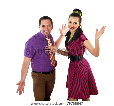 young stylish couple in bright colour wear dancing