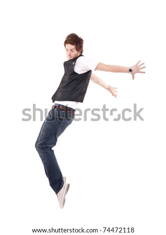 Young stylish dancer on a white background, dancing on hip hop music - stock photo