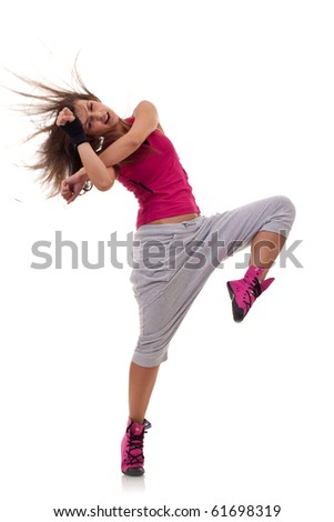 young stylish girl dancing modern ballet dance , with a headbanging move
